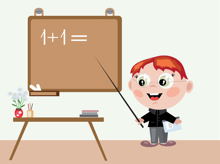 science class: Boy teacher Illustration