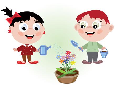 Cildrens watering flowers Vector