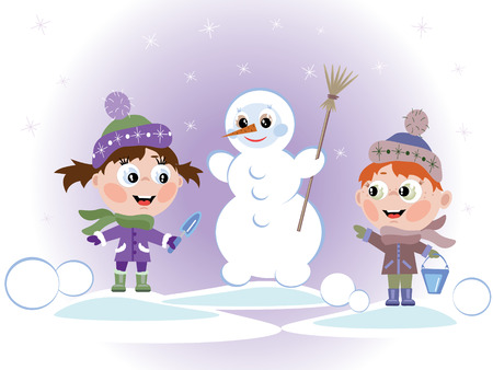 Cildrens with snowman Stock Vector - 8516004
