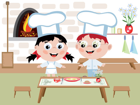 kitchen bench: Childrens cook Illustration