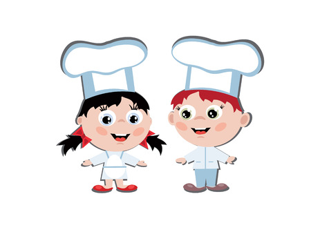 two girls: Boy and girl cook Illustration