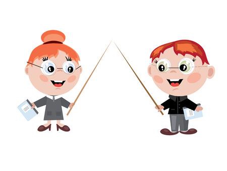 Boy and girl teachers Vector