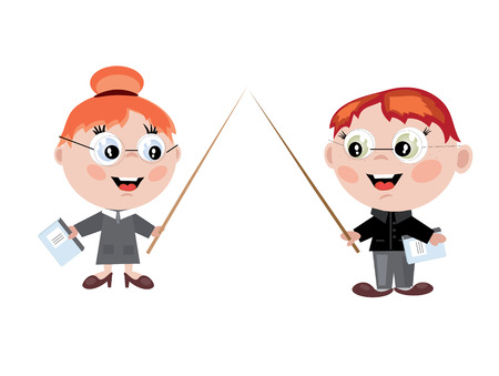 girl wearing glasses: Boy and girl teachers Illustration