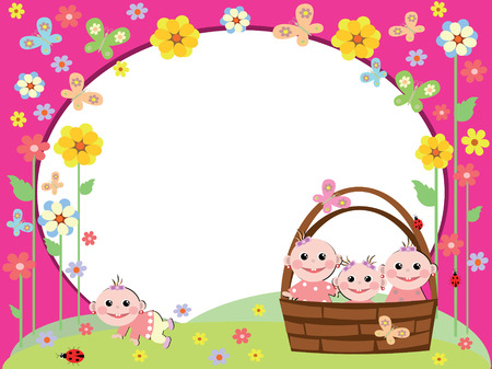 Frame with babies-girls. Vector
