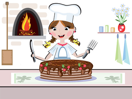 dainty: Chica cook Vectores