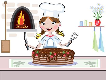Girl cook Stock Vector - 8569479