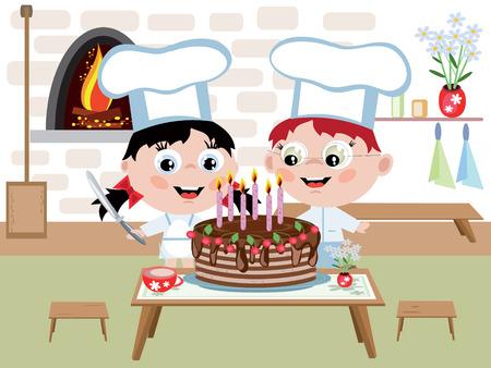 Kinder Kochen mit Kuchen