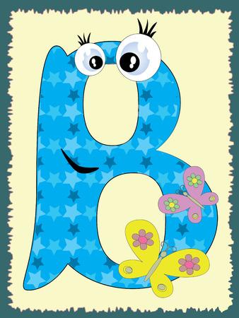 large group of animals: Alfabeto, la letra B en el fundamento de la luz Vectores