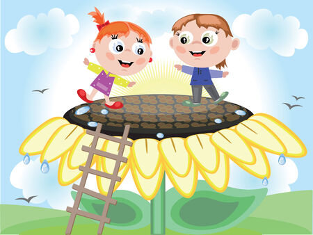 Children and sunflower Illustration