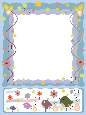 Easter: frame with birds eggs and fowers Vector