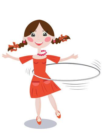 hula girl: Girl with hoop