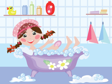 little girl bath: Bathroom  ,girl Illustration