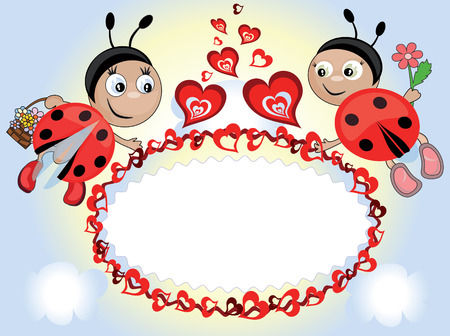 Frame with insects and hearts Vector