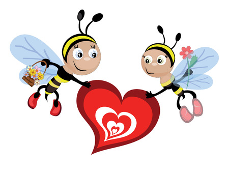 Insects and heart Vector
