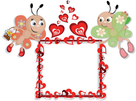 Frame with insects and hearts Stock Vector - 8847590