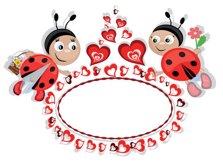Frame with insects and hearts Stock Vector - 8847577