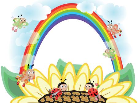 Flower and rainbow Vector