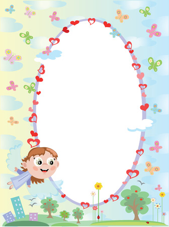 Frame with angel Vector