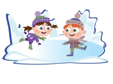 patinando: Invierno: Hielo patinaje poco chica y chico