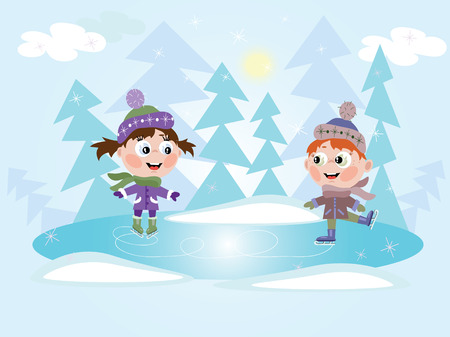 Winter: Ice skating little girl and boy Stock Vector - 8847609