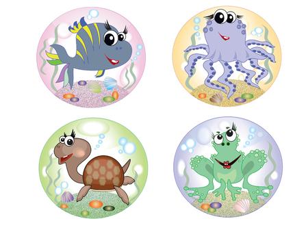 Sea animals,set Vector