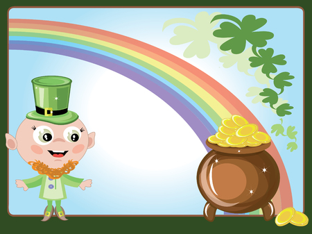 Leprechaun with gold pot Illustration