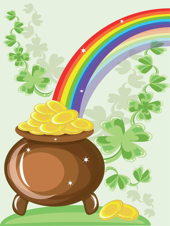 St patricks day, gold pot and rainbow Stock Vector - 8958907