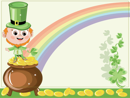 Leprechaun with gold pot Vector