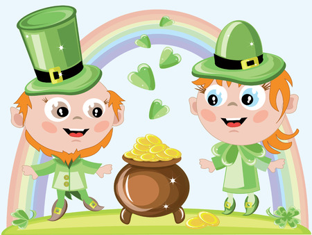 Leprechauns with gold pot Vector