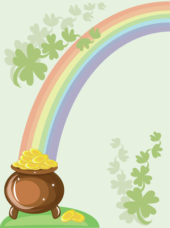 St patricks day, gold pot and rainbow Vector