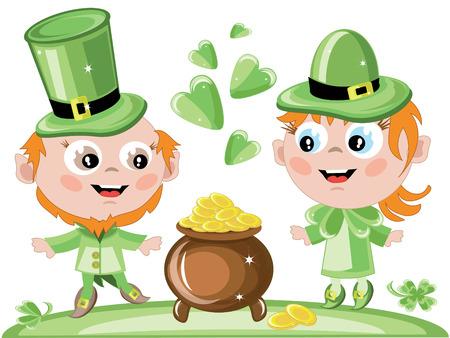 leprechaun girl: Leprechauns with gold pot Illustration