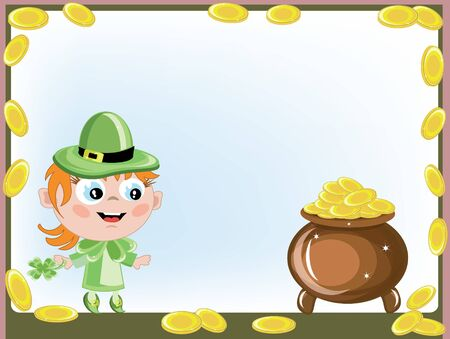 Frame with leprechaun girl and gold pot  photo