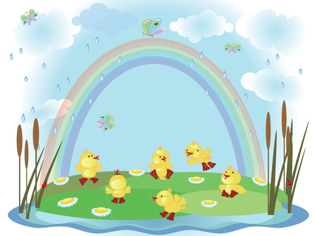 Ducklings,summer Vector