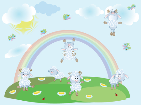 Sheep,summer Stock Vector - 8958988