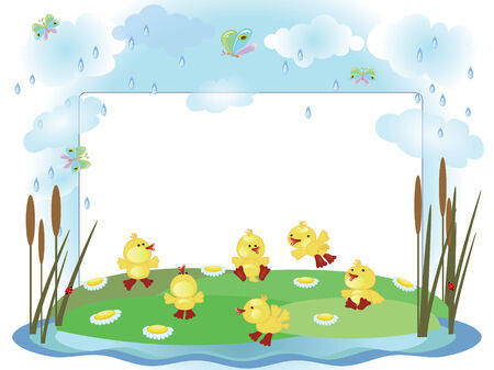 Ducklings,frame Vector
