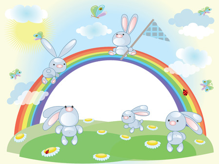 Rabbits,frame Vector