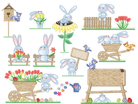 birdhouse: Easter icons with bunnies