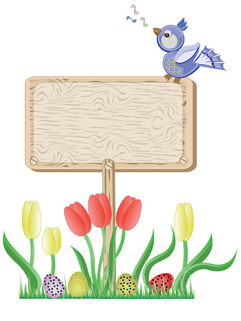 tulips in green grass: Board and bird Illustration