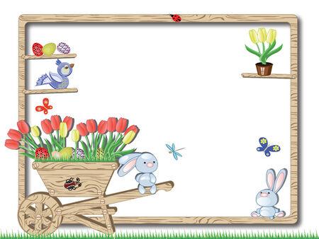 Easter wooding frame Vector