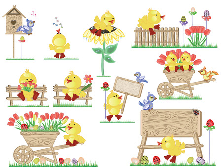 Easter icons with ducklings Vector