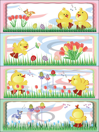 Easter bunners with ducklings Vector