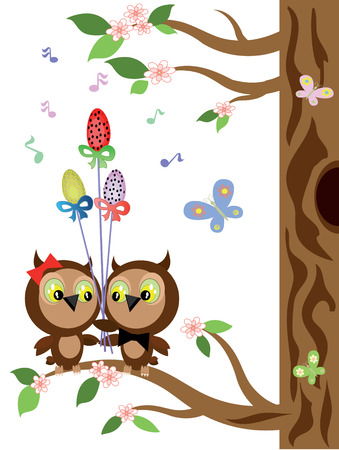 owl on branch: Easter owls