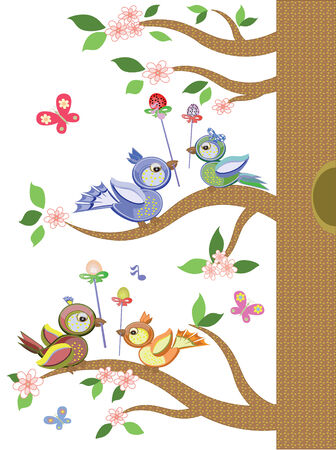Easter, with birds tree Vector