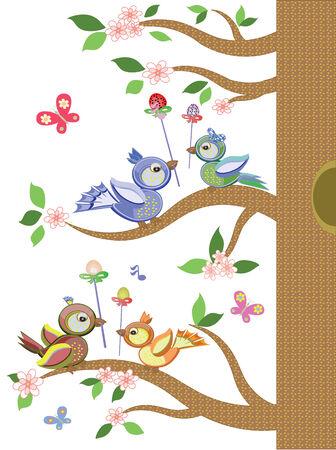 paloma caricatura: Pascua, con �rboles de aves Vectores