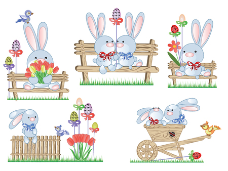 easter rabbit: Easter icons with bunnies