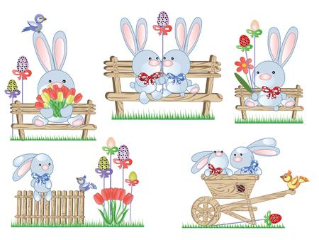 Icone di Pasqua con i conigli Archivio Fotografico - 9008942