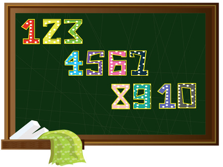 Numbers set at the blackboard Vector