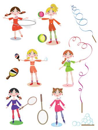 hula: Sport, girls set Illustration