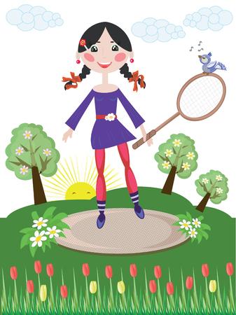 battledore: Girl with tennis rascet Illustration