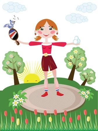 Active girl,tennis Vector